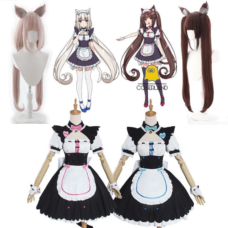 Nekopara chocolate baunilha cosplay trajes vestido de empregada lolita bonito gato neko meninas vestido feminino dia das bruxas mostrar saia conjunto role play