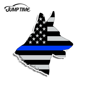 Jump Time 13cm x 12cm German Shepard Police K9 Dog Funny Sticker Cup American Flag Car Window Bumper Vinyl Decal Car Accessories image