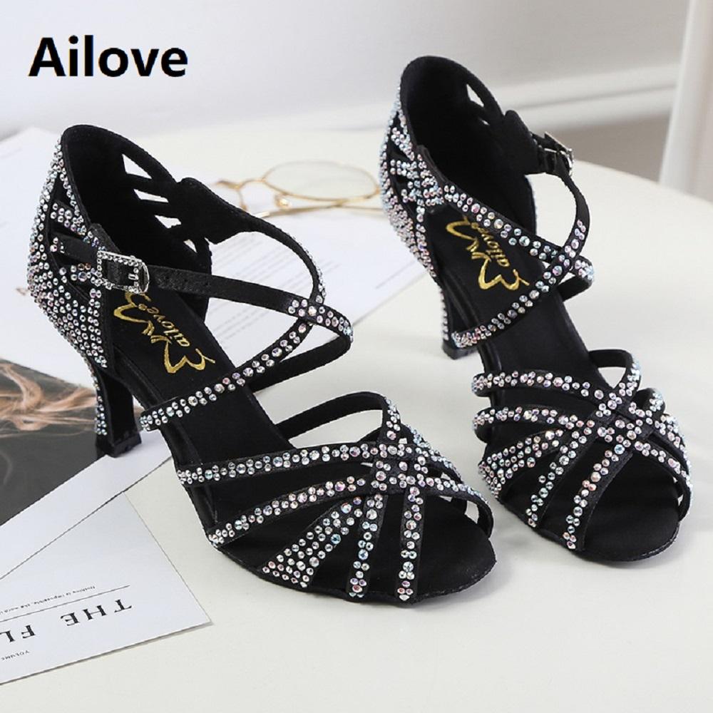 Rhinestone Ballroom Latin Sandals Handmade Professional Salsa Dance Shoes Party Wedding Soft Rubber/Suede Sole Heels ALS015