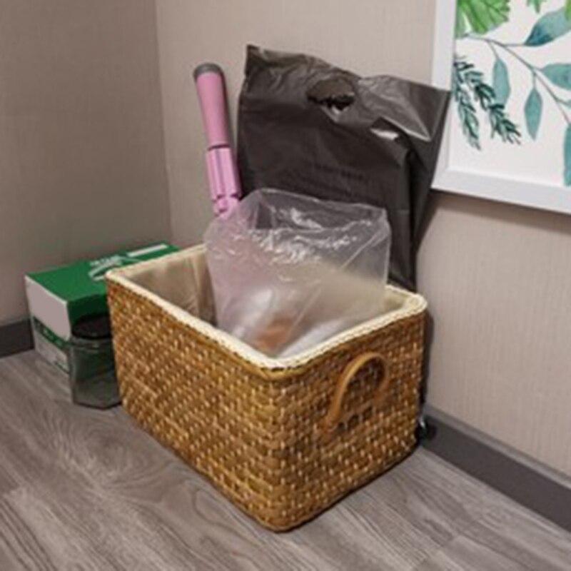 קופסאת אחסון עשויה קש יפני עם בד בפנים 3