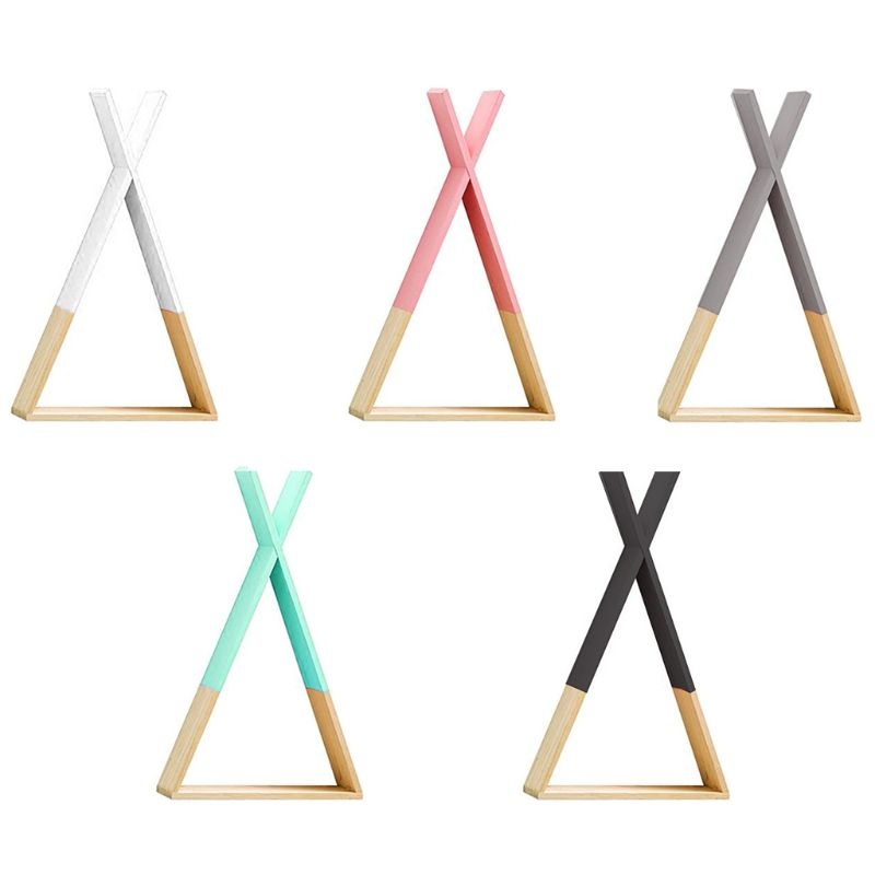 Nordic Style Baby Wooden Triangle Shelf Lovely Wall Hanging Trigon Storage Book Shelf Home Kids Baby Room DIY Decor Gift