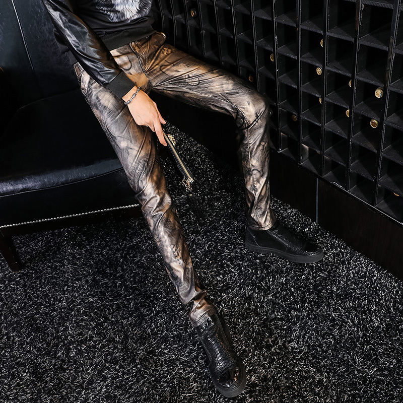 2020 New Arrival Man Trousers Fashion PU Leather Man Motorcycle Pants Casual Male Camouflage Pants Streetwear Slim Pencil Pants