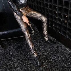 2020 Nieuwe Aankomst Man Broek Mode Pu Leer Man Motorfiets Broek Casual Mannelijke Camouflage Broek Streetwear Slanke Potlood Broek