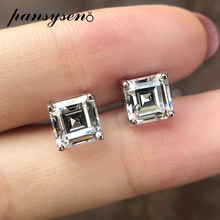 PANSYSEN Classic 3ct 7MM Square Lab Moissanite Diamond Stud Earrings 100% Pure 925 Sterling Silver Fine Jewelry Wedding Gifts