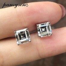 PANSYSEN-boucles d'oreilles classiques en diamant, Moissanite de laboratoire, 3ct, 7MM, argent Sterling 100% pur, bijoux fins, cadeaux de mariage