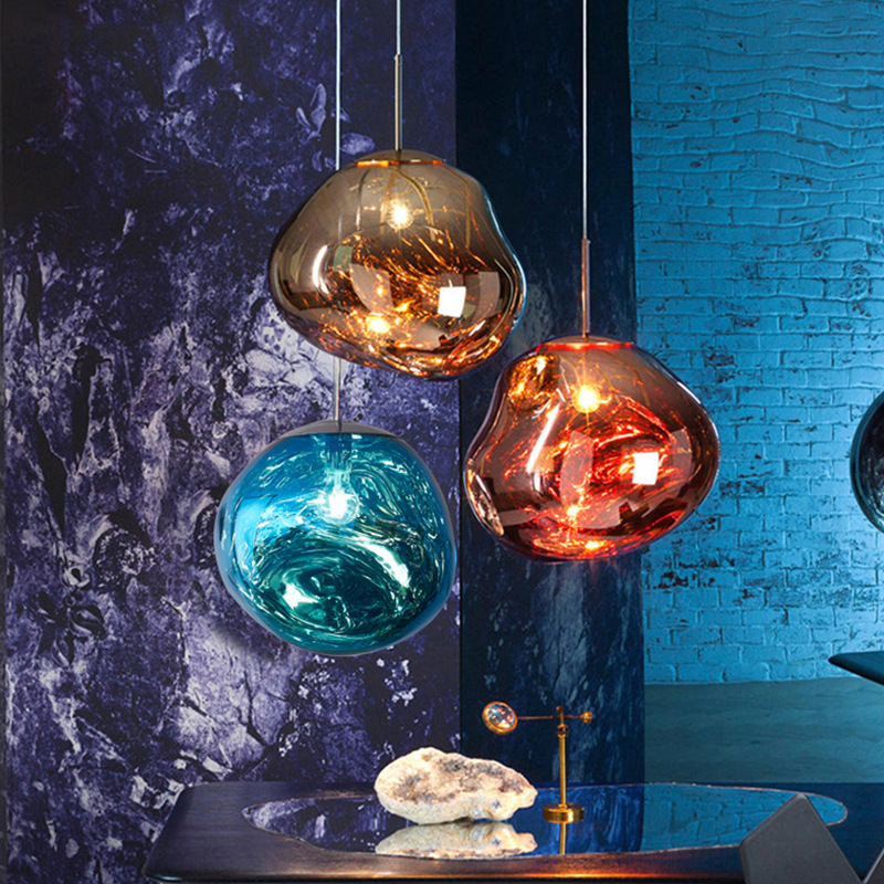 Postmodern Bar LED Pendant Lights DIXON Melt Lava Color Glass Suspension Luminaire Lighting Kitchen Hanging Lamp Modern Decor