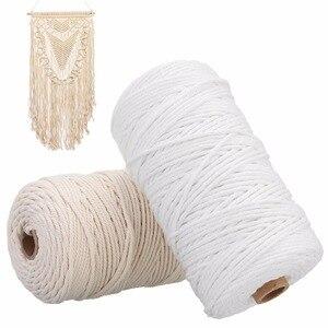 Image 3 - Cable de algodón blanco duradero de 200m, artesanía de cuerda trenzada Beige Natural, cordón de macramé, bricolaje, suministro decorativo para el hogar hecho a mano de 3mm