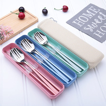Stainless Steel Dinner Set Chopsticks Fork Spoon  Box Portable Travel Camping Cutlery Tableware Set Dinnerware Case Kit stainless steel travel easy dinner set fork spoon chopsticks