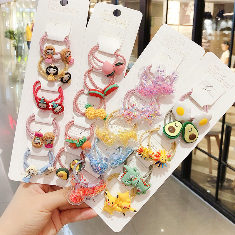 2/5/10Pcs/Set Girls Cute Cartoon Avocado Fruit Elastic Hair Bands Scrunchies Ponytail Holder Headbands Kids Hair Accessories