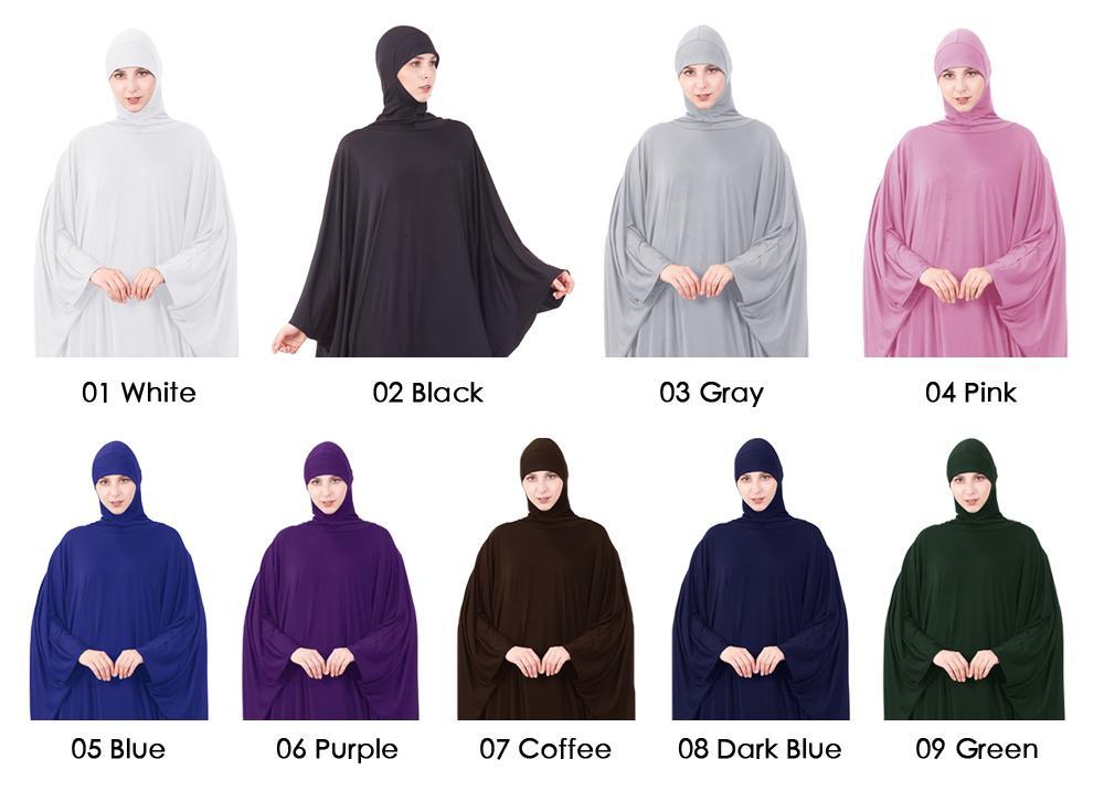 Jilbab Abaya Muslim Hijab Prayer Dress Islamic Farasha Maxi Kaftan Women Robe Loose Solid Color Bat Sleeve Gown Worship Service