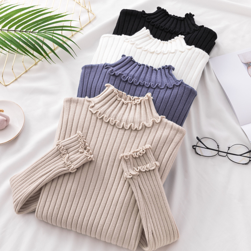 Autumn New Ruffles Knitted Women Sweaters And Pullovers Solid Slim Elastic Lady Elegant Pullovers Outwear Coat Tops