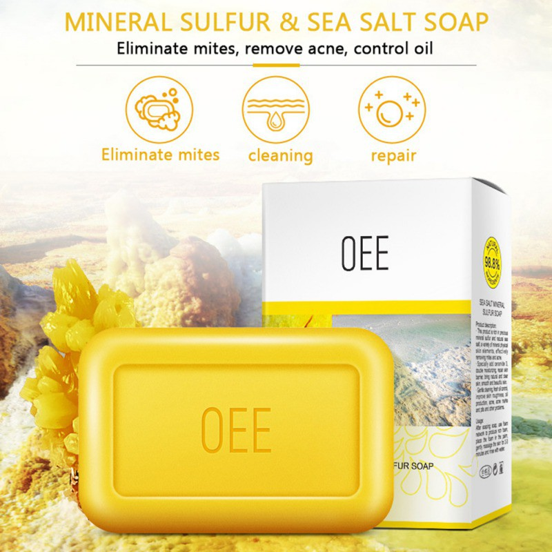 New 100% Mineral Moisturizing Cleansing Sulphur Soap To Remove Facial Greasy Dirt Balance Oil Secretion Soap