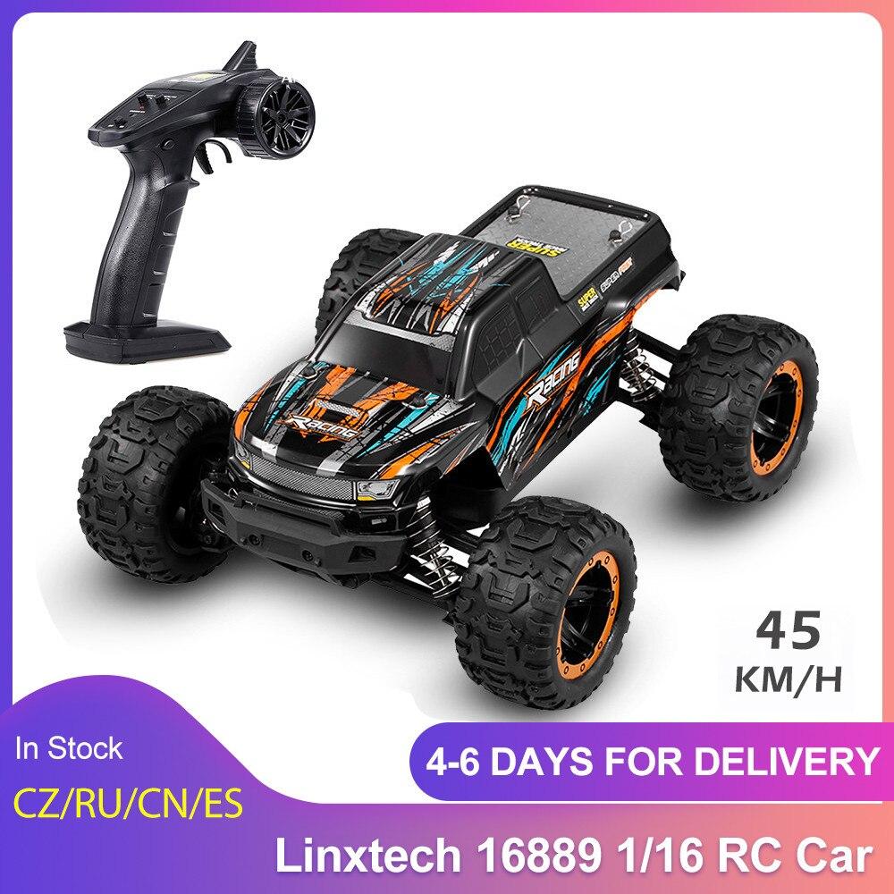 Linxtech 16889 1/16 30/45km/saat yarış RC araba fırçasız Motor 4WD büyük ayak Off-Road RC Buggy araba oyuncak tüm arazi çocuklar için VS 12428