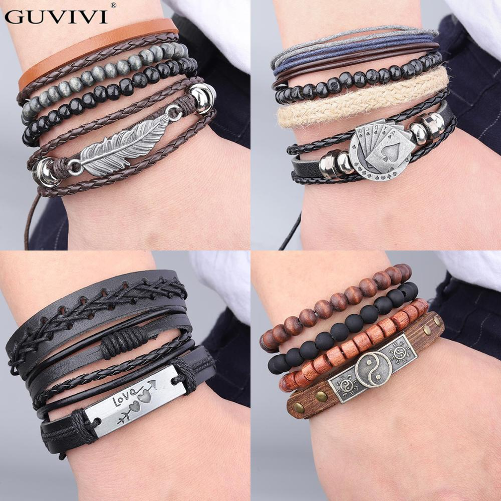 Multilayer Braided Wrap Leather Bracelets for Men Vintage Leaf Feather Owl Charm Wood Beads Handmade Ethnic Tribal Wristbands(China)