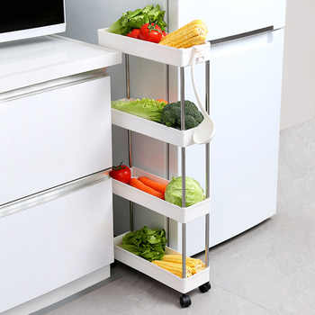2/3/4 Tier Slide Out Storage Cart Mobile Shelving Unit Rolling Bathroom Carts with Handle for Kitchen Laundry Room Narrow Places - DISCOUNT ITEM  45 OFF Home & Garden