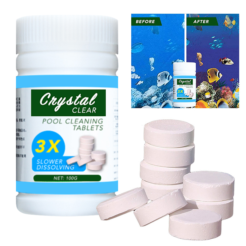 100 Pcs Pool Cleaning Tablet Effectively Purify Water Crystal Clear Pool Foaming Cleaners Swimming Pool Detergent Home Cleaner