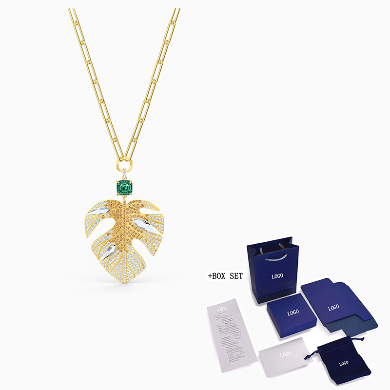 2020 Fashion Accessories SWA New TROPICAL LEAF Necklace Tropical Leaf Decoration Gold Plated Tone Lady Romantic Gift Engagement