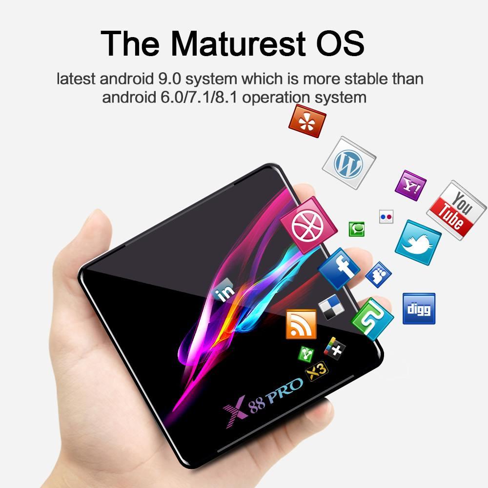 X88 PRO X3 8K TV Box Android 9,0 Amlogic S905X3 Fernbedienung 4GB RAM 32/64/ 128GB ROM 2,4G 5G WIFI bluetooth 4,1