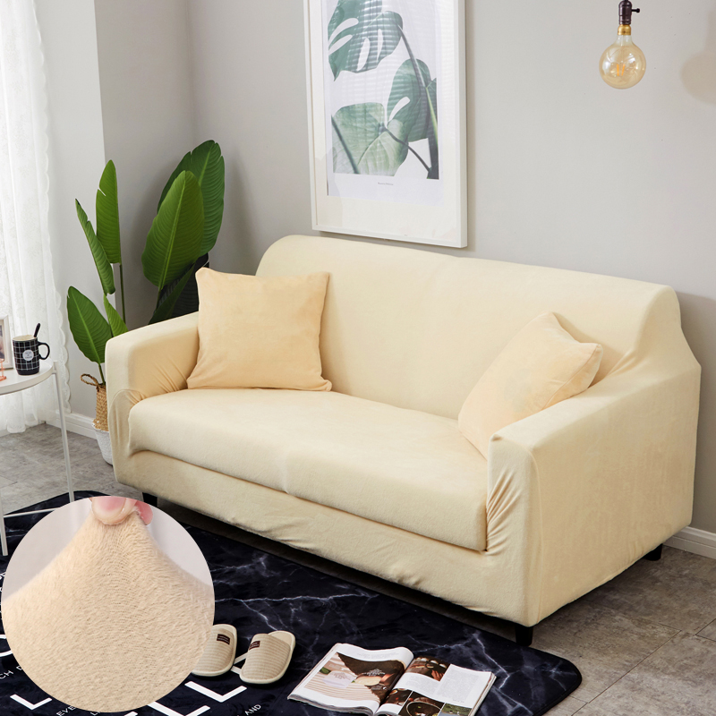 Elastic Plush Sofa Covers For Living Room Fully-wrapped Slip-resistant Keep Warm Covers For Corner Sofa Slipcover