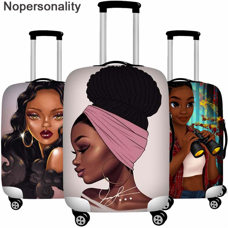 Nopersonality African Girl Suitcase Women Travel Accessories Elastic Trolley Case Protection Luggage Cover for 18-30 inch Dust image