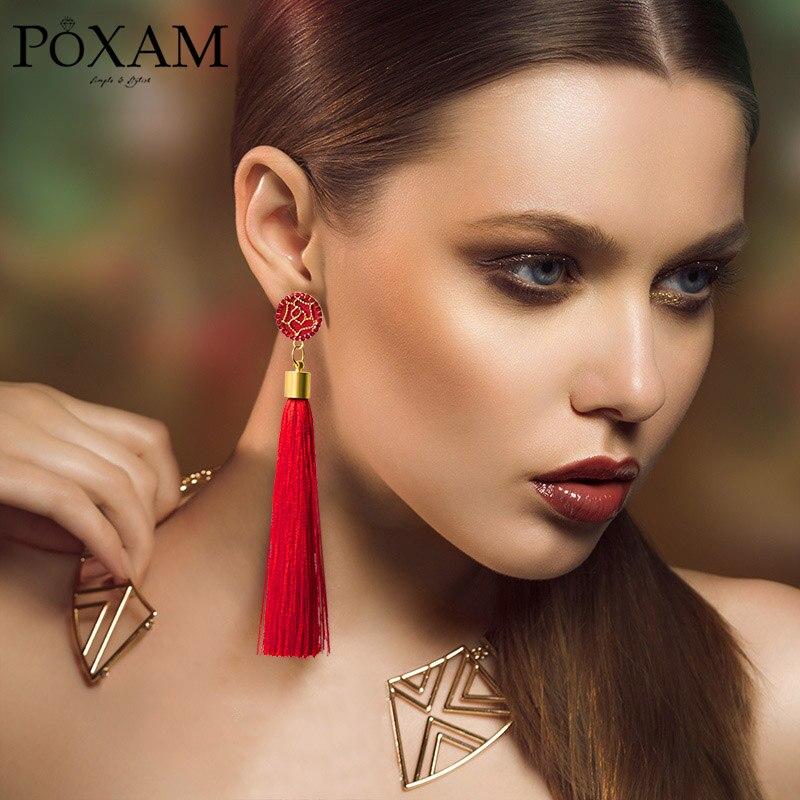 Женские богемные серьги POXAM, длинные сережки с бахромой и кристаллами, ювелирные изделия из желтого, Красного Шелка, висячие серьги с ниспад...