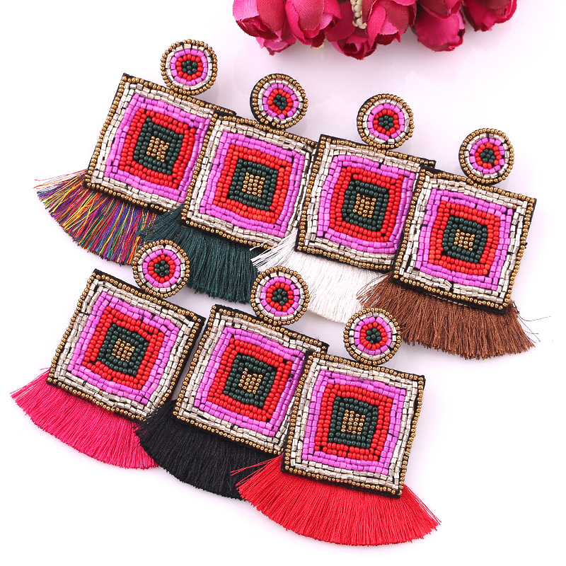 2019 Bohemian Handmade Beads Big Eye Tassel Drop Earrings For Women Wedding Trendy Girls Party Gift Statement zara boho women