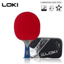 цена на Original LOKI 6 Star Pro Table Tennis Racket WRB Carbon Blade Ping Pong Bat paddle Pingpong tabletennis with ITTF Rubber