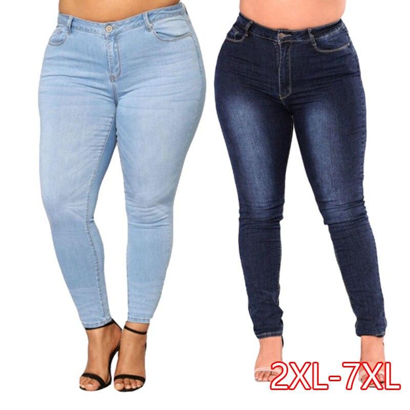 PLUS SIZE Jeans Women High Waist Waisted Skinny Pencil Blue Denim Pants Women Stretch Solid Elastic Jeans Women 4XL 5XL 6XL 7XL