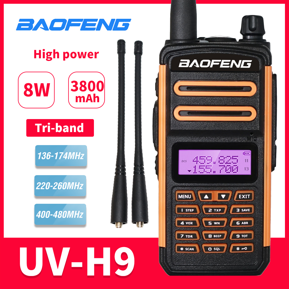 Tri-Band Radio BaoFeng UV-H9 Walkie Talkie 8W High Power 136-174MHZ/220-260MHZ/400-480MHZ Handheld Two Way Radio FM Transceiver