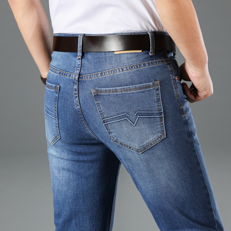 2020 New Men's Classic Style Jeans Business Casual Stretch Slim Denim Pants Light Blue Black Trousers Male Brand Plus Size 28-40