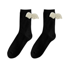 Ladies New Fashion White Black Cotton Crew Socks Lovely Angel Decorate High Quality Cute Footwear