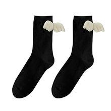 Bayanlar yeni moda beyaz siyah pamuk mürettebat çorap güzel melek süslemeleri yüksek kaliteli sevimli ayakkabı