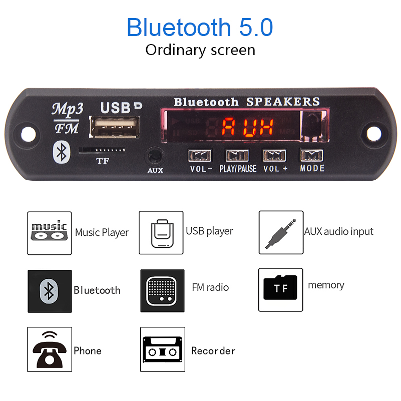 Bluetooth Receiver Car Kit MP3 Player Decoder Board Color Screen FM Radio TF USB 3.5 Mm AUX Audio For Iphone XS