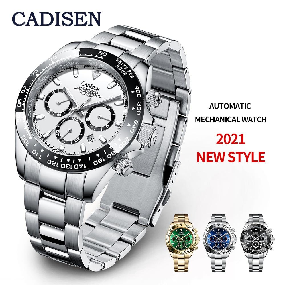 Механические Мужские часы CADISEN, роскошные керамические часы Daytona, спортивные водонепроницаемые наручные часы, мужские часы 2021, мужские часы