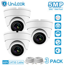 UniLook 5MP POE IP Camera outdoor Audio Built in Microphone Hikvision IP CCTV Security Turret Dome Camera H.265 3PACK White dahua 6mp stellar bullet outdoor ip camera ipc hfw4631k i6 h 265 ir 150m built in 6leds ip67 poe security cctv camera