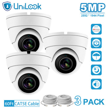 UniLook 5MP POE IP Camera outdoor Audio Built in Microphone Hikvision IP CCTV Security Turret Dome Camera H.265 3PACK White цена 2017
