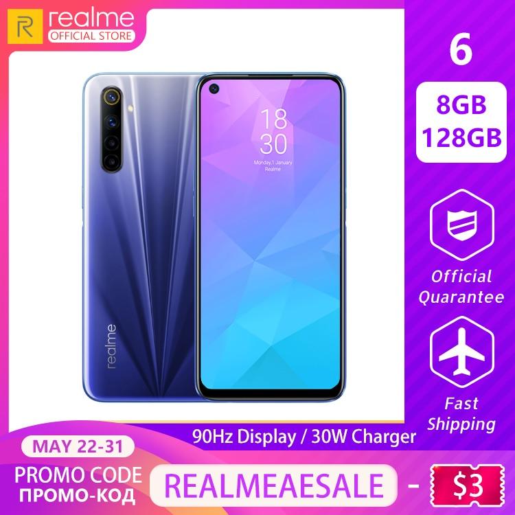Realme 6 8GB RAM 128GB ROM Global Version 90Hz Display Helio G90T 30W Flash Charge 4300mAh Battery 64MP Camera Multi Language