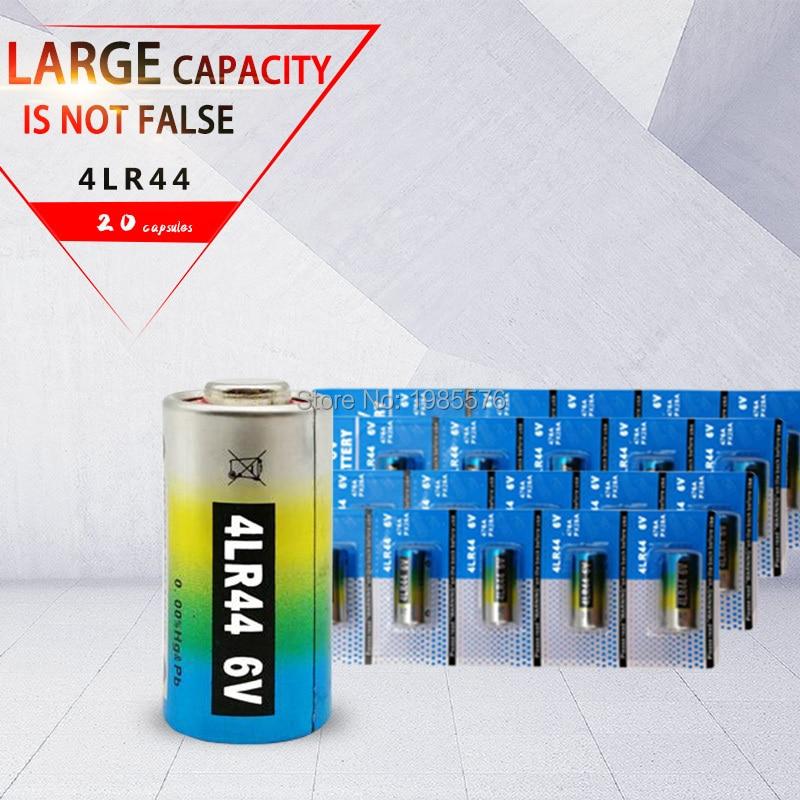 Baterias 4lr44 l1325 6v, células de bateria alcalina primária e seca, remota de carro, brinquedo, calculadora, 20 peças