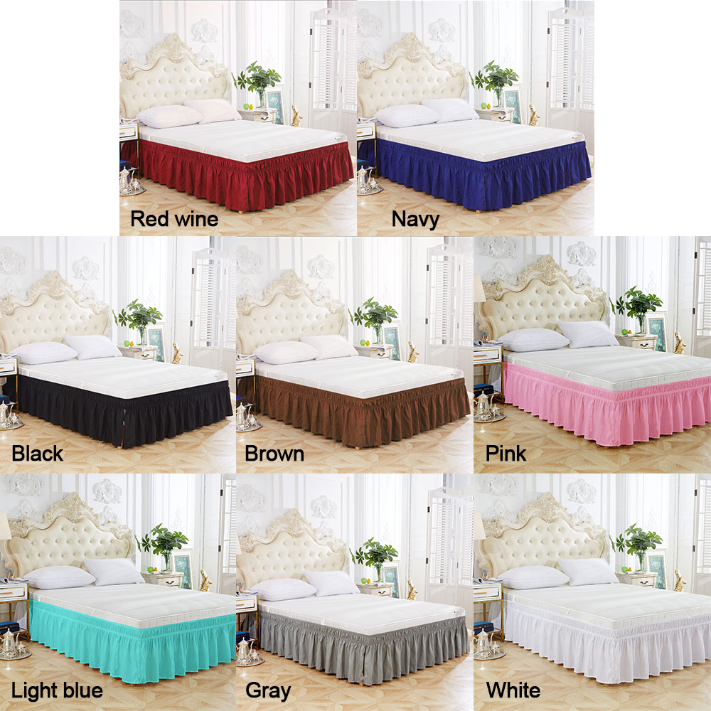 Solid Color Elastic Pleated Bed Dress Single Double Bed Ruffles Wrinkle Free Dust Ruffle For Twin Queen King US Size