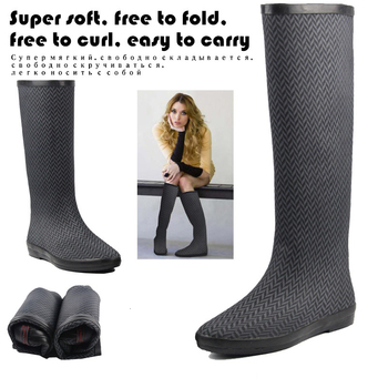 Natural Rubber Wading Long Boots Super Soft Waterproof Fishing Waders Foldable Non slip Water Rain Shoes Women High Knee Wellies