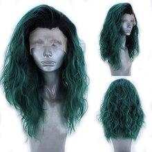 Харизма короткий парик Омбре зеленый синтетический кружевной передний парик короткий Боб Стиль термостойкие волосы вьющиеся парики для же...