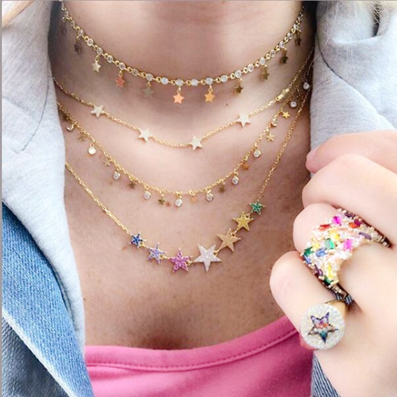 2019 Valentine Gift Vermeil 100% 925 Sterling Silver Cute Star Choker Charm Necklaces Charming Women Jewelry Fine Daily Necklace