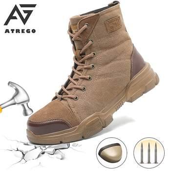 AtreGo mężczyźni wysokie góry stalowe Toe buty ochronne zasznurować buty robocze bhp armia walki piesze wycieczki odkryty antypoślizgowe oddychające obuwie robocze tanie i dobre opinie AG ATREGO Pracy i bezpieczeństwa CN (pochodzenie) Futro Połowy łydki Stałe Dla dorosłych Mesh Mesh (air mesh) Okrągły nosek