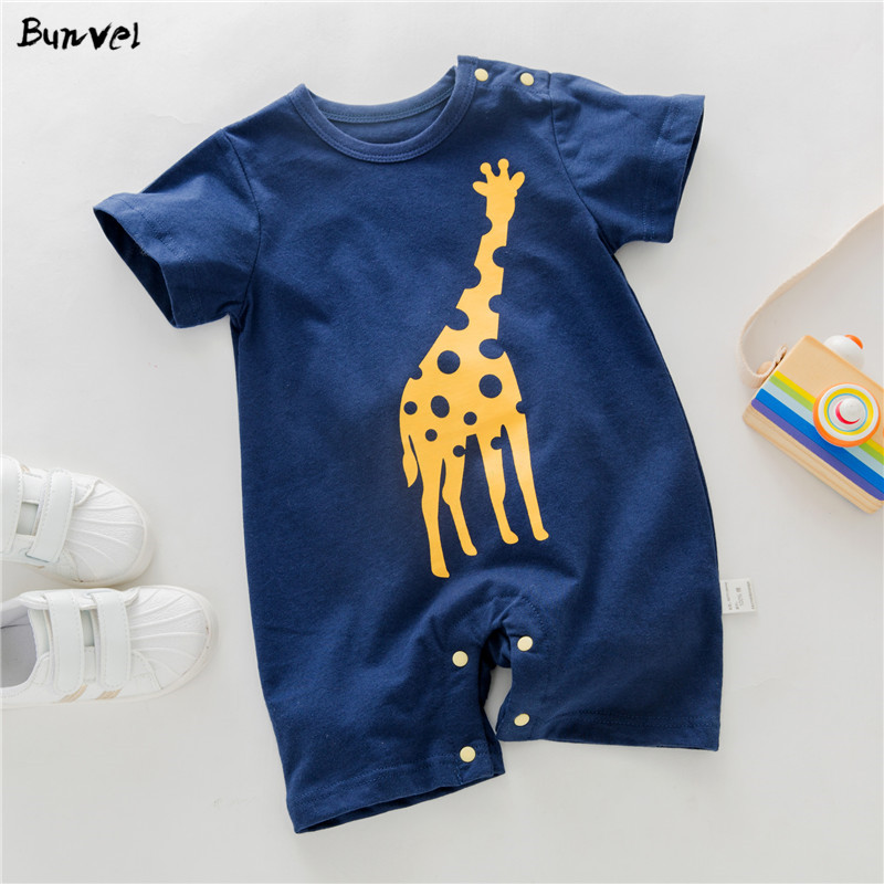 Bunvel Summer Infant Baby Girls Boys Rompers Jumpsuit Short Sleeve Cartoon Giraffe Outfits Kids Baby Boys Girls Clothes Costume
