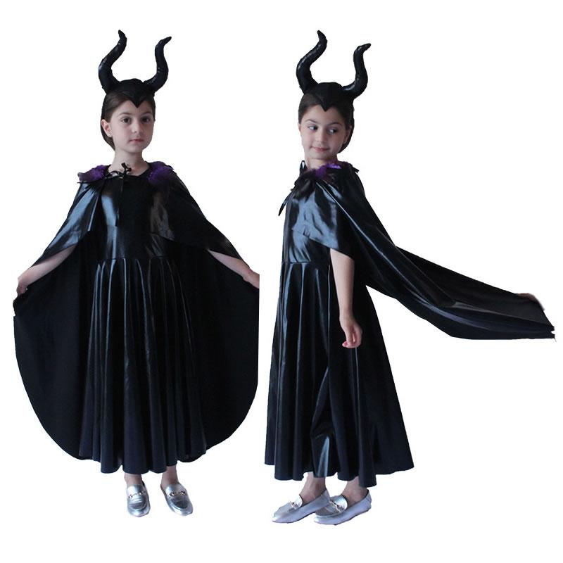 Film Malefica Costume Male nero strega Cosplay Vestito di Halloween Fantasia Del Partito Del Vestito Operato per le Ragazze Dei Capretti Dei Vestiti Dei Bambini