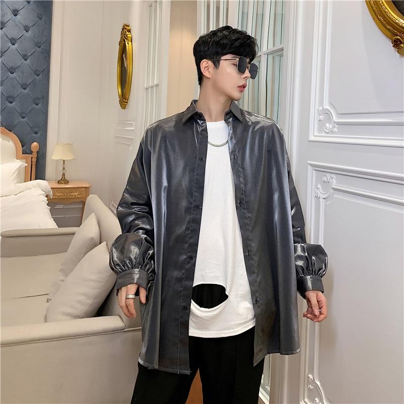 Image 4 - Осенняя Модная шелковая мужская рубашка с длинными рукавами винтажная негабаритная Блузка мужская хип хоп готическое панк блестящее платье рубашкиПовседневные рубашки   -