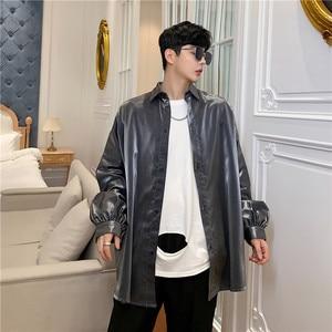 Image 4 - Seda moda outono homens camisa de manga longa blusa de grandes dimensões do vintage homem hip hop punk gótico brilhantes camisas de vestido
