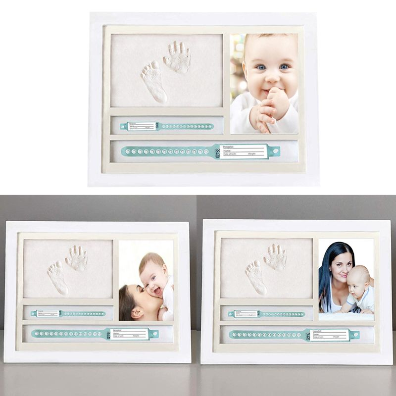 Newborn Hand And Foot Prints Print Mud Photo Frame One Year Old Baby Infants Gifts Commemorative Table Decoration Frames R7RB