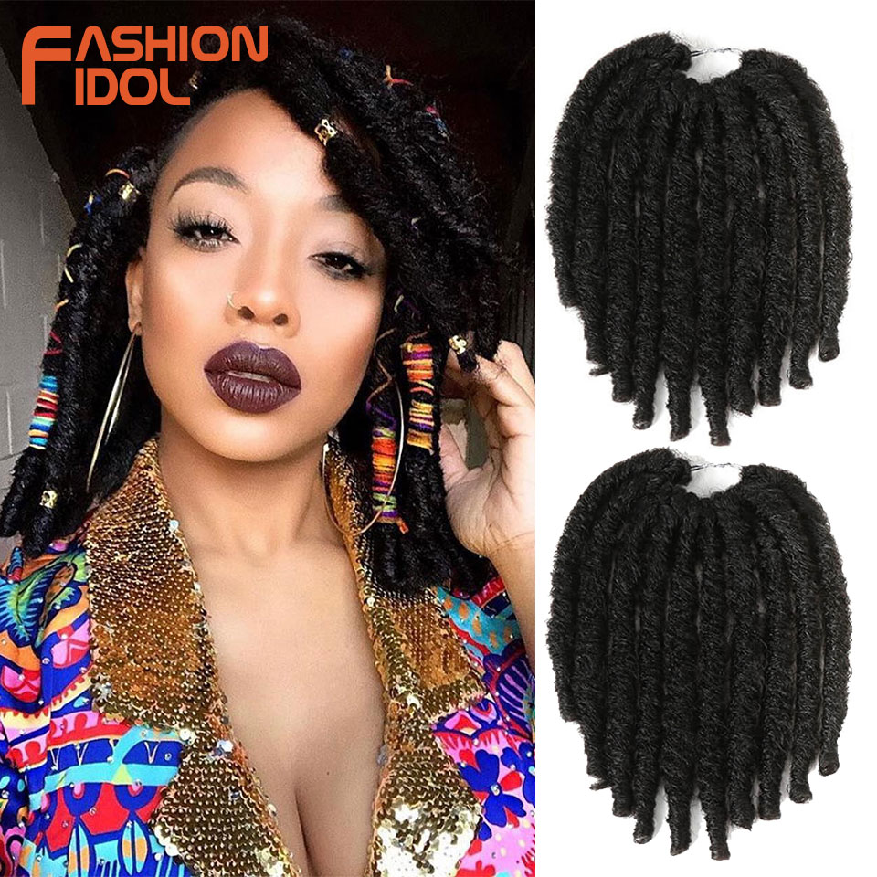 FASHION IDOL Ombre Marley Braids Crochet Hair 21 Strands 10 Inch Synthetic Hair Crochet Braids Hair Extensions Burgundy Black