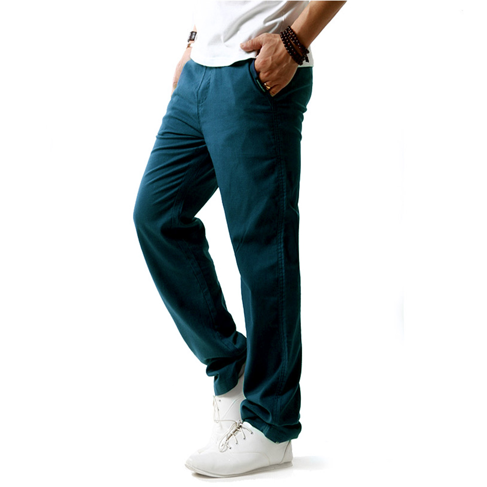 Linen Trousers Men's Summer Thin Breathable Pants Male Stretch Waist Straight Loose Casual Trousers For Men